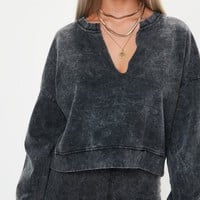 Missguided - Gray Oversized V Front Washed Sweatshirt