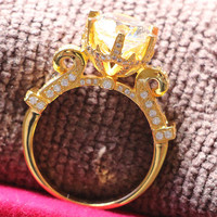Brilliant Golden Ring 5Ct Moissanite Test Positive Wedding Ring for Women Solid 18K 750 Yellow Gold Fine Jewelry Promise Ring