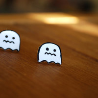 Ghost Earrings -- Ghost Studs, Boo! White Ghost Studs, Halloween Earrings, Geekery Jewelry