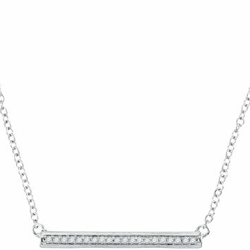10kt White Gold Womens Round Diamond Bar Pendant Chain Necklace 1-10 Cttw - FREE Shipping (US/CAN)
