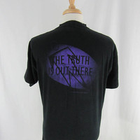 "Vintage 90s X Files T Shirt size XL ""The Truth is out there"" 1994 Fox Tv Show"
