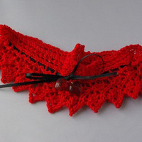 Hand knitted red and black wedding lacey garter.