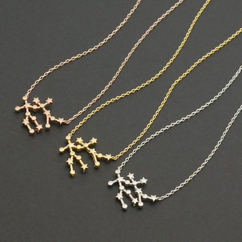 Gemini Zodiac Sign Astrology Necklace / constellation astrology necklace, star sign necklace, birth sign, birthday necklace / N097
