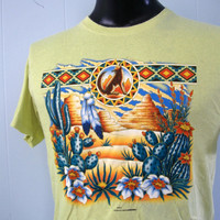 Vintage TShirt Native American Arizona Southwest Indian Coyote Cactus Desert Faded Yellow MEDIUM