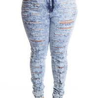Plus High Waist Acid Washed Jeans