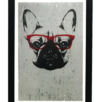 French Bulldog with Red Glasses Art Print / Poster - 13x19""