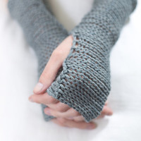 Grey Blue Fingerless mittens, Fingerless knit gloves,Crochet Gloves Fingerless Gloves Wool Knitting Wrist Warmer as Valentine Gift
