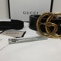 Authentic GUCCI Leather belt with Double G buckle snake With Box