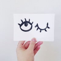 monocromatic minimal evil eye pattern note cards / painted watercolor cards / watercolor stationery