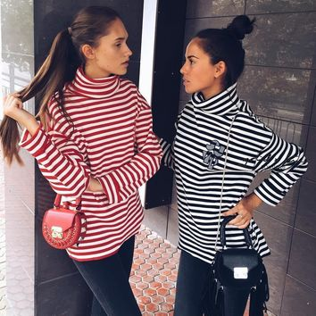 Hoodies Tops Korean Embroidery Alphabet Stripes Long Sleeve Bottoming Shirt [9448822407]