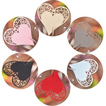 50pcs Love Heart Laser Cut Table Water/Wine/Champagne Glass Name Place Cards
