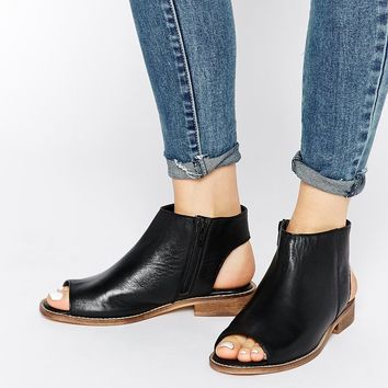 ASOS AALIYA Open Back Peep Toe Leather Ankle Boots
