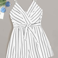 Striped Print Belted Cami Romper