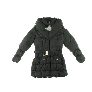 Betsey Johnson Womens Quilted Zip Front Puffer Coat