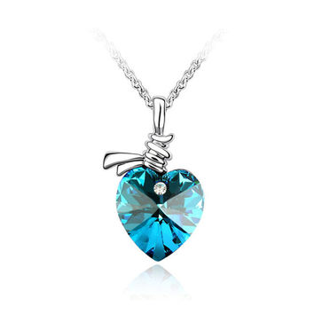 Titanic heart of the ocean necklace for girl gifts best friends pendant kingdom hearts crystal necklaces/bayan kolye/gargantilha