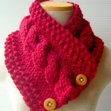 Knit Scarf Cable Cowl Made to Order in Red by WindyCityKnits