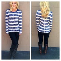 Navy Diamond Knit Sweater Top