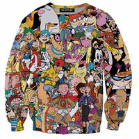 Unisex Women Men 3D Cartoon Sweatshirts Drugs Print Crewneck Weed Leaf Print Swe