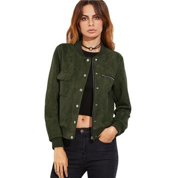 Women's Button Up Bomber Jacket