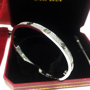 750-18K-White-Gold-fully-diamonds-Cartier-Love-Bracelet-Women-Bangle-Size-16