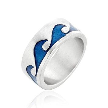 Blue Wave Waves Ocean Surfer Surfing Surf Ring Fine Pewter Jewelry Size 10