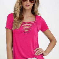 Sexy Women's V Neck Top Shirt Sleeve Bandage Shirts ( Rose Red )S-5XL