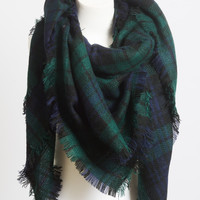 Plaid Blanket Scarf- Forest Green
