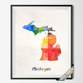 Michigan, Map, Print, Lansing, Home Town, Dorm, Art, USA, Poster, Watercolor, Painting, States, America, Wall Decor, Watercolour [NO 22]