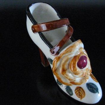 Mary Jane Ceramic Shoe Occupied Japan Signed Floral Pottery Planter
