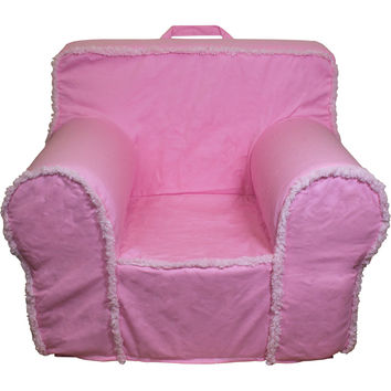 Oversize Pink Suede Sherpa Chair Cover for Foam Childrens Chair