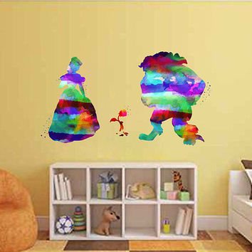 kcik2159 Full Color Wall decal Watercolor Character Disney Belle Beauty and the Beast children's room Sticker Disney