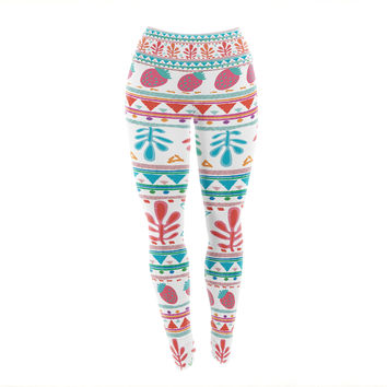 "Nika Martinez ""Spring Strawberries"" Pink White Yoga Leggings"