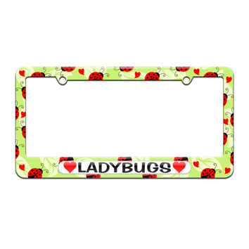 Ladybugs Love with Hearts - License Plate Tag Frame - Cute Ladybugs Design