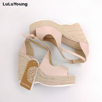 Sweet Peep-Toe Straw Wedge Sandals Women Scrub Sponge Bottom platform Students High-Heeled Shoes cross strap