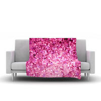 "Ebi Emporium ""Romance Me"" Pink Glitter Fleece Throw Blanket"