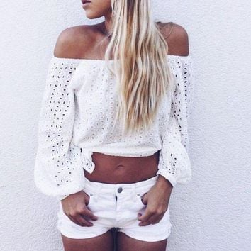 CREYCI7 2016 New Women Off Shoulder Blouse Summer White Long Sleeve Crochet Hollow Out Eyelet Top