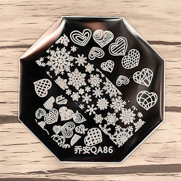 Nail Art Stamping Image Plates High Quality Snow Heart Pattern Stainless Steel Design Nail Art Stamping Template 8150889
