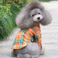 2013 new pet shirt Handsome plaid pet clothes dog clothes teddy/ Mei red/green/orange