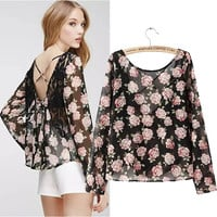 Stylish Print Lace Sexy Backless Chiffon T-shirts Women's Fashion Tops Strap [5013354436]