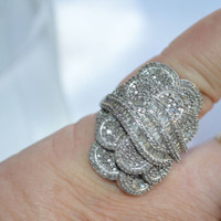 ESTATE 1.50ctw Baguette & Round Diamond Cluster Ring Rhodium Sterling Silver 13g