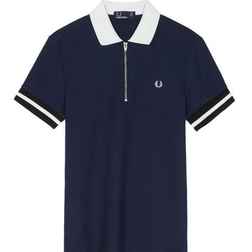 Fred Perry - Zip Neck Piqué Polo Shirt Carbon Blue