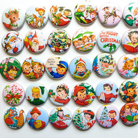 Retro Christmas Pins, Secret Santa Gifts, Holiday Pins, Vintage Style Christmas Buttons, Cute Christmas Gifts, Xmas Pins