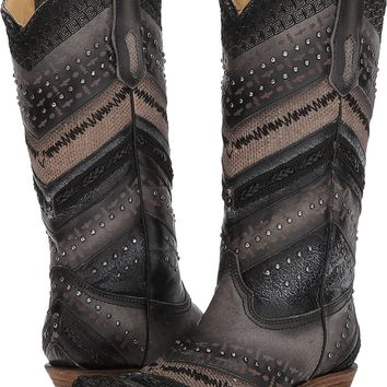 CORRAL Women's Embroidery and Stud Accent Boot Snip Toe - A3355