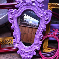 Upcycled Ornate Mirror in Pink/Lavender Little Bo by FeFiFoFun