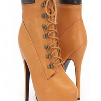 Cognac Faux Leather Lace Up Bootie Heels
