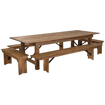 "HERCULES Series 9' x 40"" Folding Farm Table and Four Bench Set"
