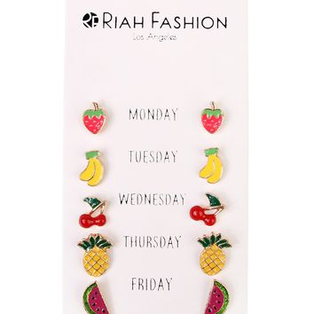 Days Of The Week Fruit Pin Earrings