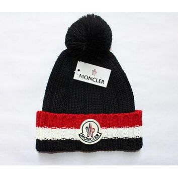 "Hot Sale ""MONCLER"" Winter Popular Knit Hat Warm Cap Black I12673-1"