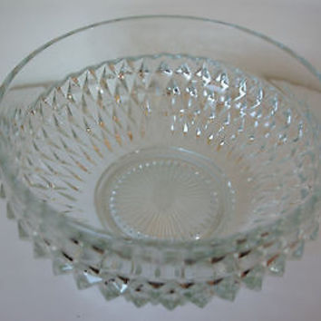 Vintage Indiana Glass Diamond Point Serving Bowl Large, 9 3/4""