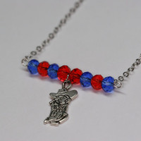 Ole Miss Colonel Reb University of Mississippi necklace with swarovski crystals and charm
